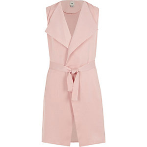 Girls pink sleeveless belted blazer