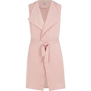 Roze mouwloze blazer met ceintuur voor meisjes
