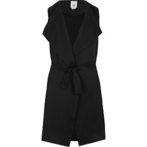Girls black sleeveless belted blazer