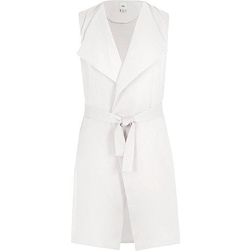 Girls white sleeveless belted blazer