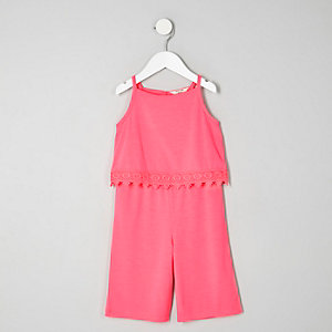 Mini girls pink crochet trim jumpsuit