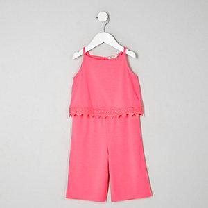 Mini - Roze jumpsuit met gehaakte rand voor meisjes