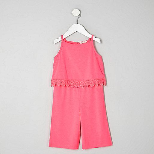 Mini girls pink crochet trim jumpsuit