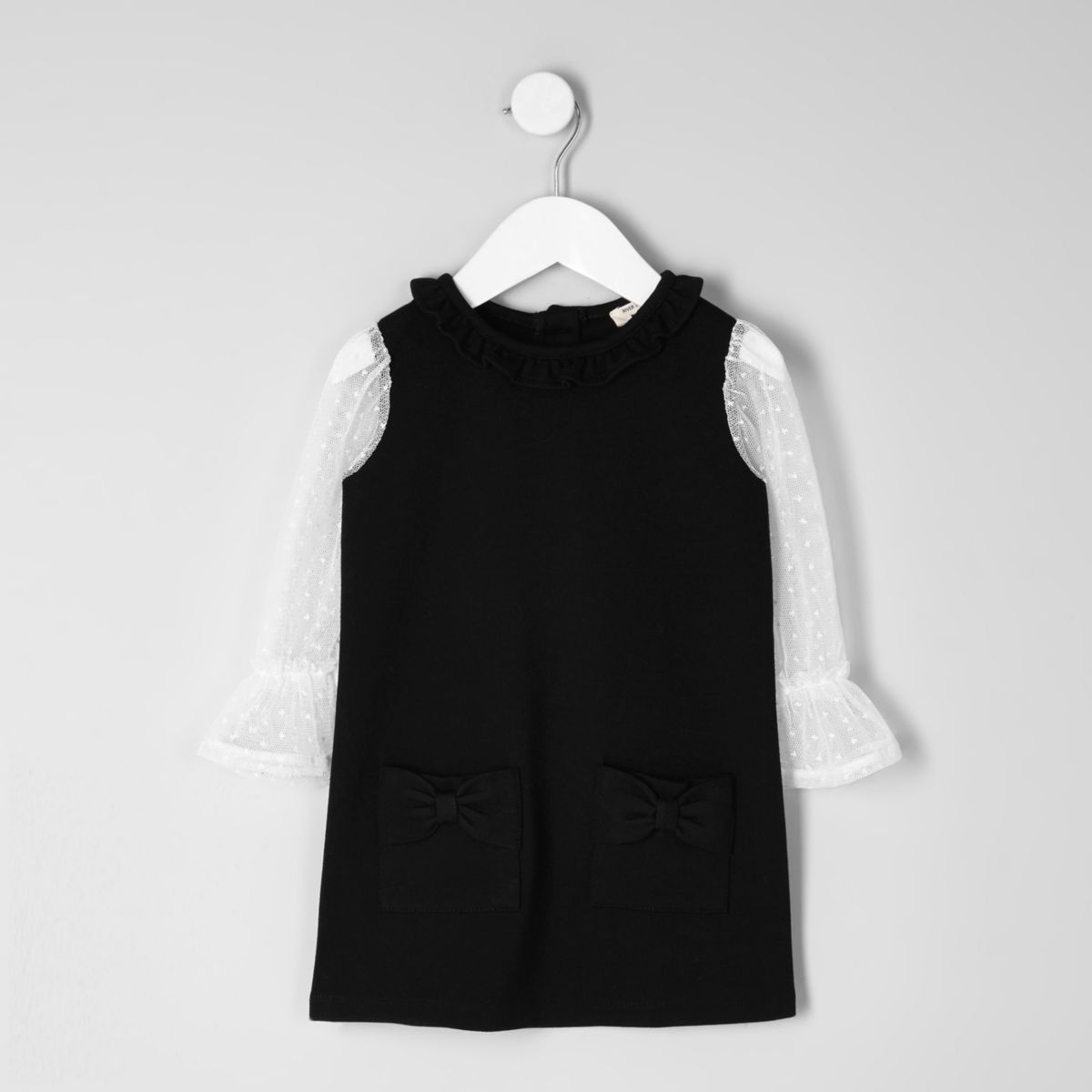 Mini girls black bow shift dress