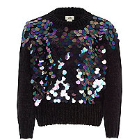 Girls black iridescent sequin chenille jumper