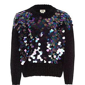 Schwarzer Chenille-Pullover mit Paillettenverzierung