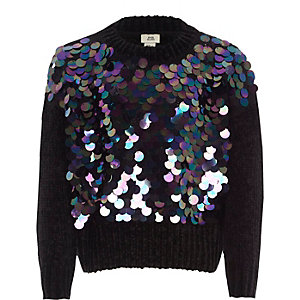 Girls black iridescent sequin chenille sweater