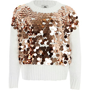 Girls white metallic sequin chenille sweater