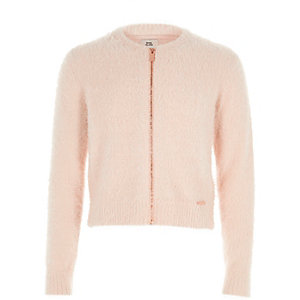 Girls light pink zip-up fluffy knit cardigan