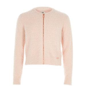 Cardigan en maille duveteuse rose clair zippé pour fille