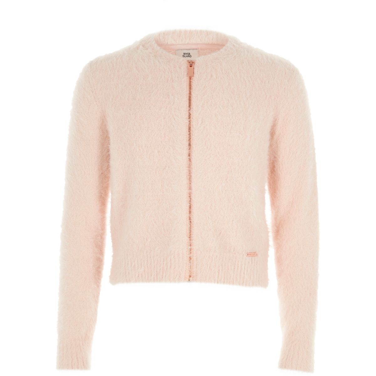 Girls light pink zip-up fluffy knit cardigan - Tops - Sale - girls