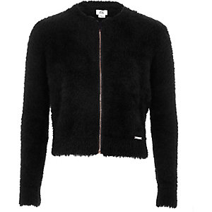 Girls black fluffy zip-up cardigan
