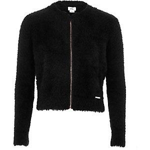 Cardigan noir zippé duveteux pour fille