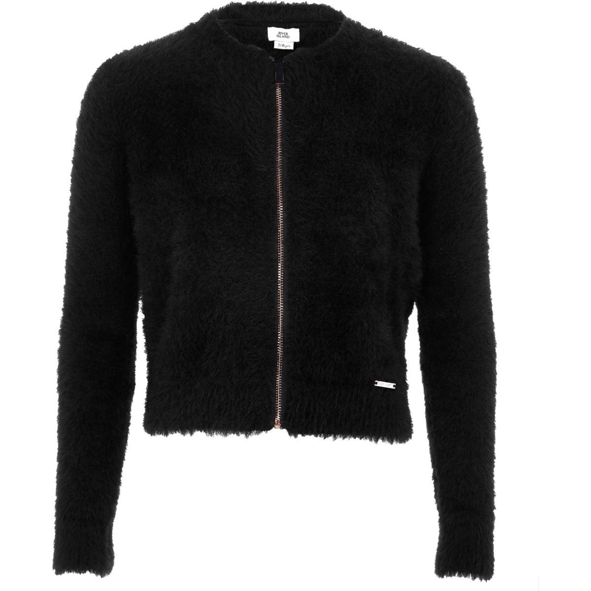 Girls black fluffy zip-up cardigan