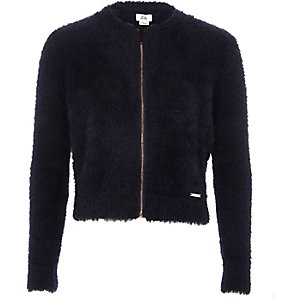 Girls navy fluffy zip-up cardifan