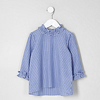 Mini girls blue stripe frill neck top