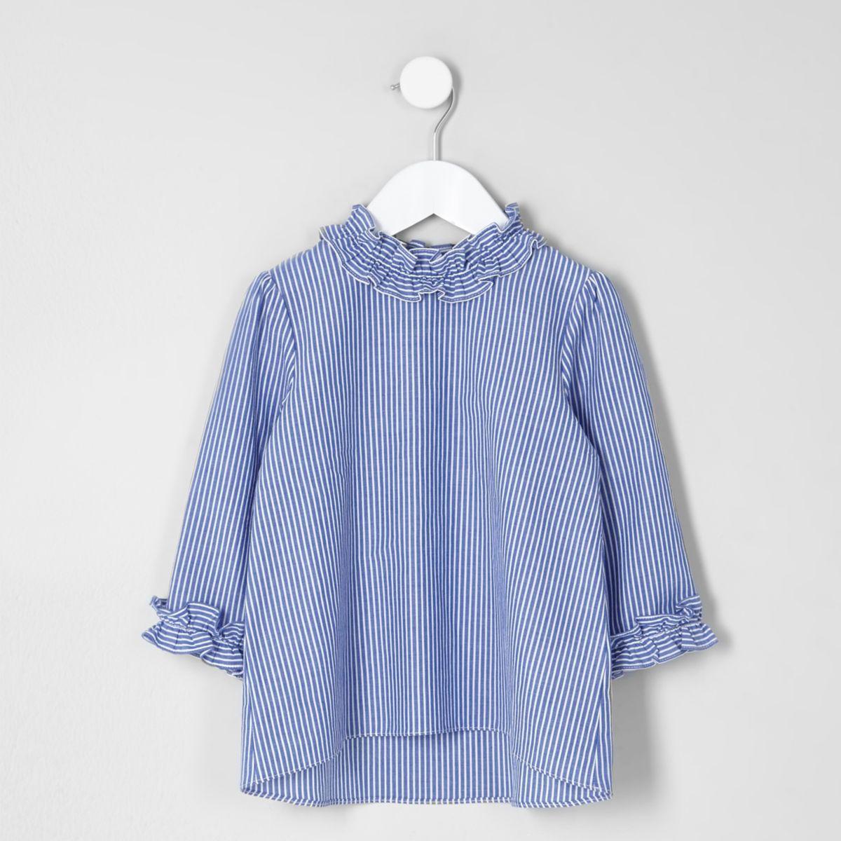 Mini girls blue stripe frill neck top