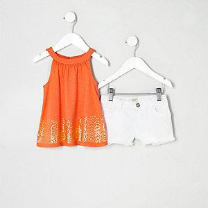 Mini - Outfit met oranje A-lijntop voor meisjes