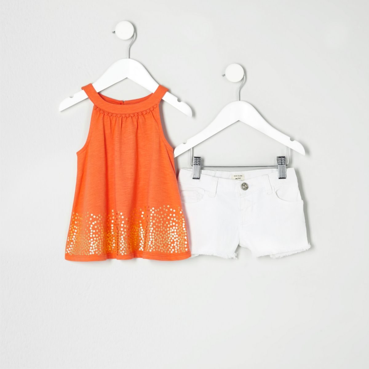 Mini girls orange trapeze top outfit