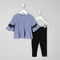 Mini girls blue stripe applique top outfit