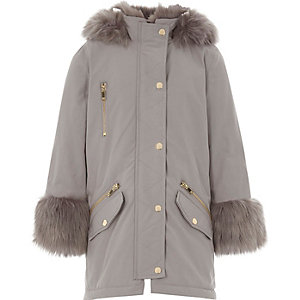 Girls grey faux fur lined parka