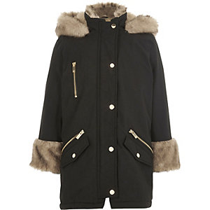 Girls black faux fur lined parka