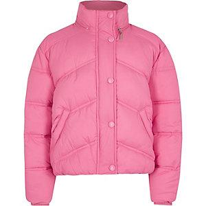 Roze gewatteerd jack met opstaande kraag voor meisjes