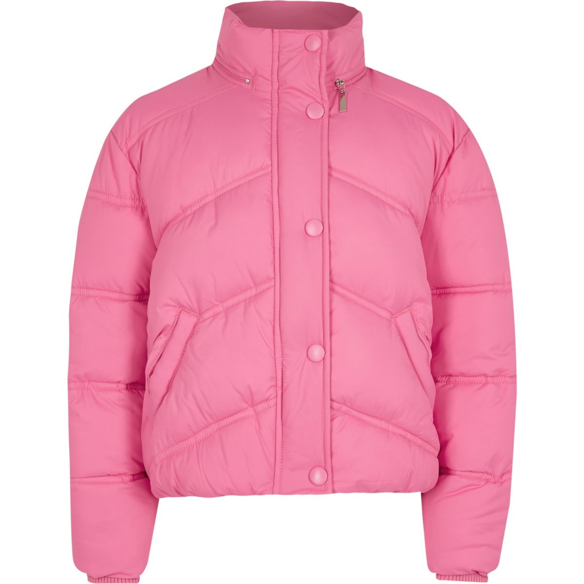 Girls pink funnel neck puffer jacket