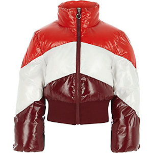Girls red block stripe puffer jacket
