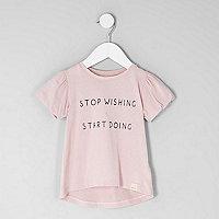 Mini girls pink 'stop wishing' T-shirt