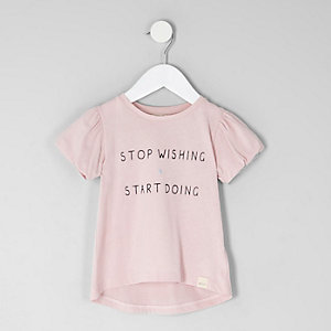 Mini girls pink 'stop wishing' T-shirt