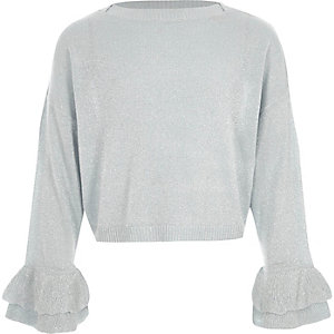 Girls blue metallic frill cuff knit jumper