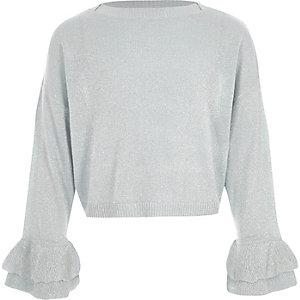 Metallic blauwe gebreide pullover met ruches aan de mouwen voor meisjes