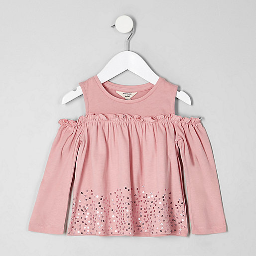 Mini girls pink sequin hem bardot top