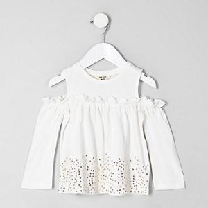 Top Bardot blanc avec ourlet à sequins mini fille