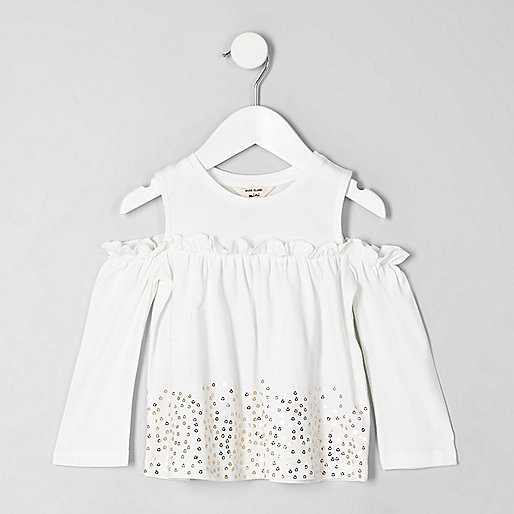 Mini girls white sequin hem bardot top