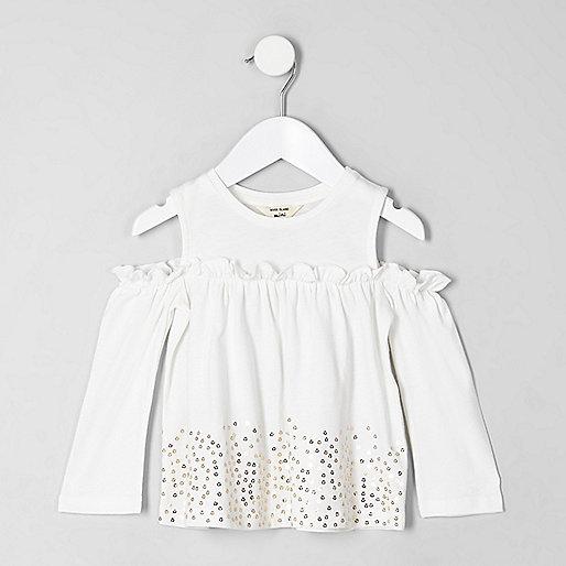 Mini girls white sequin hem bardot top