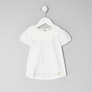 Mini girls cream pleated circle collar top