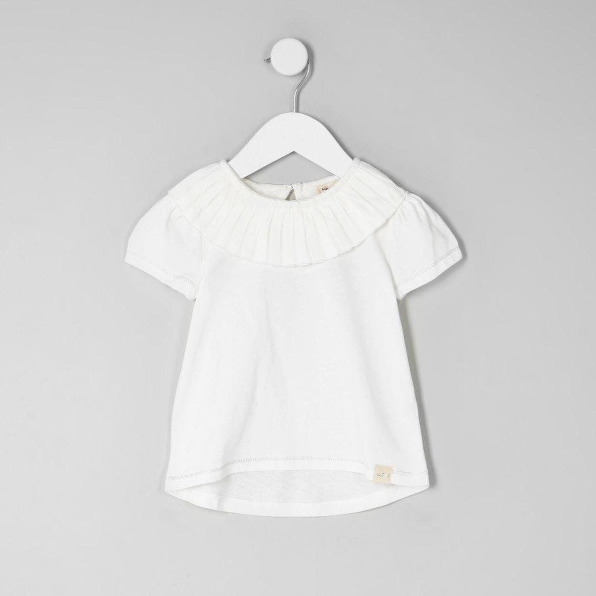 Mini girls cream pleated circle collar top