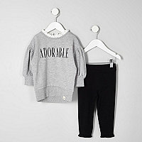 Mini girls grey balloon sleeve top outfit