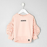 Sweat « dream big » rose à volants mini fille