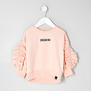 Mini - Roze sweatshirt met 'Dream big'-print en ruches voor meisjes