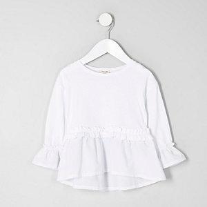 Mini girls white poplin frill top