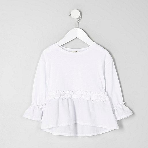 Mini girls white long sleeve peplum top