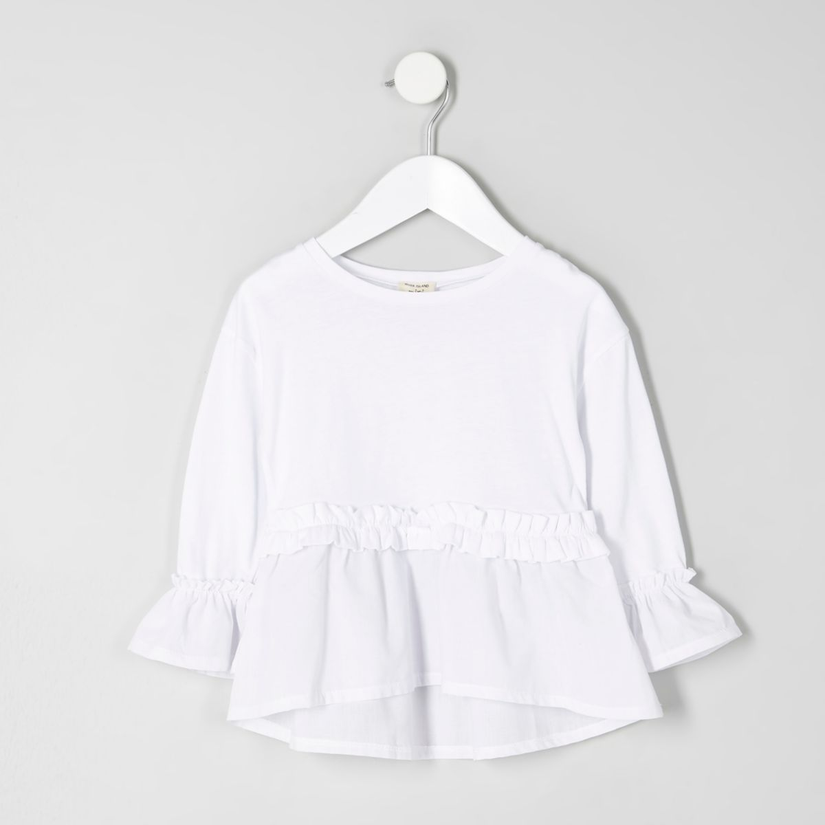Mini girls white long sleeve peplum top