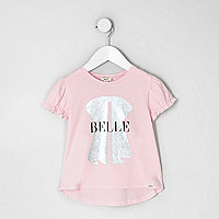 Mini girls pink 'belle' foil bow print top