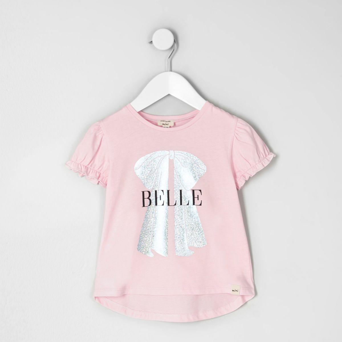 Mini girls pink 'belle' foil bow print top