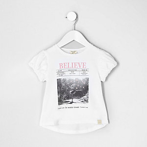 Mini girls white 'believe' photo print top