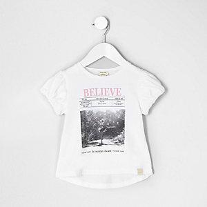 Mini - Witte top met 'believe'-fotoprint voor meisjes