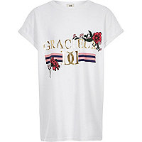 Girls white 'gracieux' print longline T-shirt